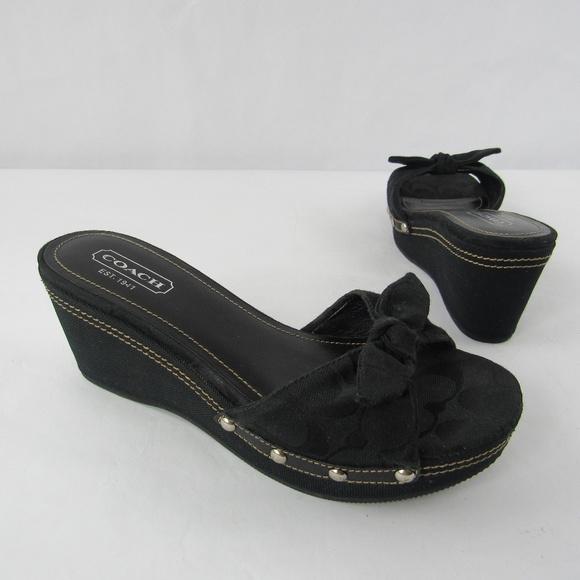 0ab7d25d0c1 Coach Lorah Signature Canvas Wedge Sandals